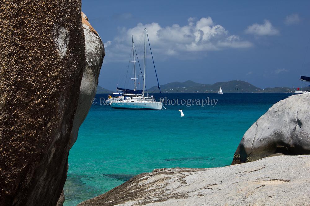 Sailboat moored at the Baths Virgin Gorda, British Virgin Islands.