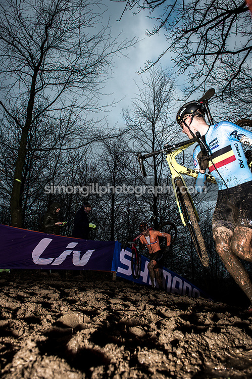 UCI Cyclo-cross World Championships in Valkenburg 2018. Toon Aerts being chased by Mathieu Van Der Poel. Photo by Simon Gill.
