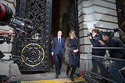 Photographer: Rick Findler<br /> <br /> London, UK 08.05.15 Newly elected Prime Minister David Cameron returns to Downing Street after attending a memorial service to mark the 70th anniversary of VE Day.