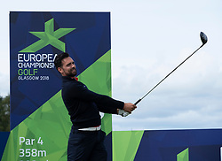 Gleneagles, Scotland, UK; 7 August, 2018.  Practice day at Gleneagles for the European Championships 2018. Pictured Lee Slattery tee shot at the the hole