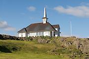 Small church in twilight. Hólmavik. Iceland.