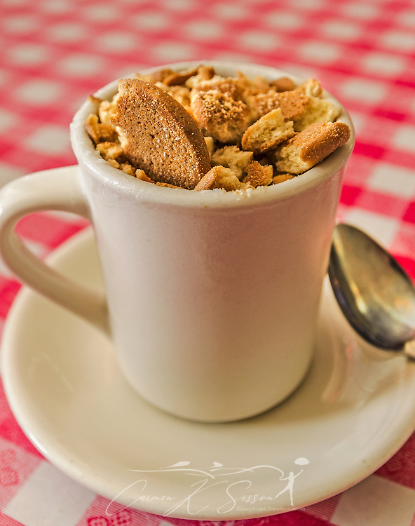 Banana pudding is topped with crushed vanilla wafers and served in a coffee mug at The Greater Good Barbecue in Tucker, Georgia May 21, 2014. The restaurant opened in 2012 and specializes in barbecue and Southern-style cooking. (Photo by Carmen K. Sisson/Cloudybright)