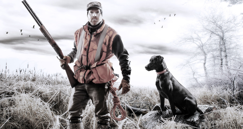 A composite image of a bird hunter training his young black Labrador Retriever puppy the art of patience while in the field.