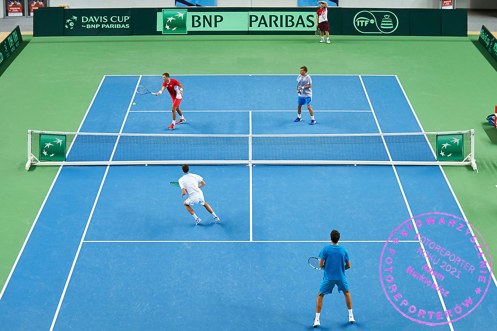 (L-R) Lukasz Kubot &amp; Hubert Hurkacz &amp; Jerzy Janowicz &amp; Marcin Matkowski all from Poland during training session two days before the Davies Cup / Group I Europe / Africa 1st round tennis match between Poland and Lithuania at Orlen Arena on March 4, 2015 in Plock, Poland<br /> Poland, Plock, March 4, 2015<br /> <br /> Picture also available in RAW (NEF) or TIFF format on special request.<br /> <br /> For editorial use only. Any commercial or promotional use requires permission.<br /> <br /> Mandatory credit:<br /> Photo by &copy; Adam Nurkiewicz / Mediasport
