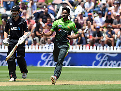 Pakistan's Hasan Ali celebrates the dismissal of New Zealand's Ross Taylor for 12 in the first one day cricket international at the Basin Reserve, Wellington, New Zealand, Saturday, January 06, 2018. Credit:SNPA / Ross Setford  **NO ARCHIVING**