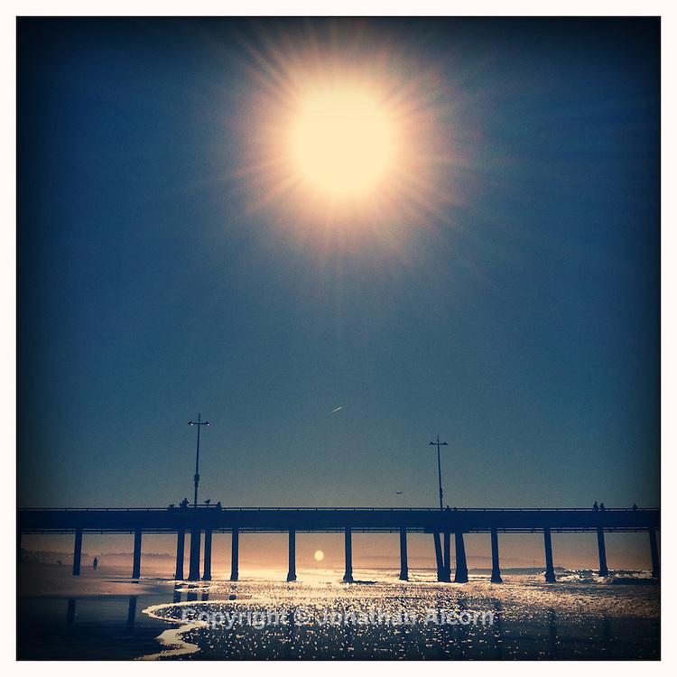 Sun over the Venice Pier on January 4, 2012.