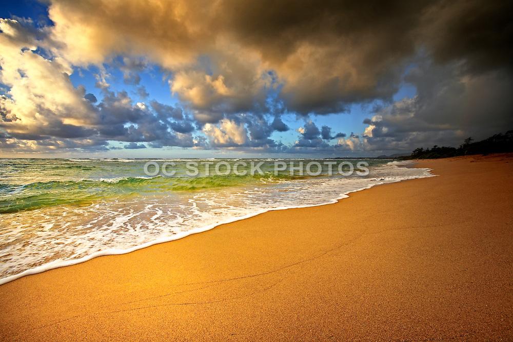 Colorful Lydgate Beach Kauai with Clouds