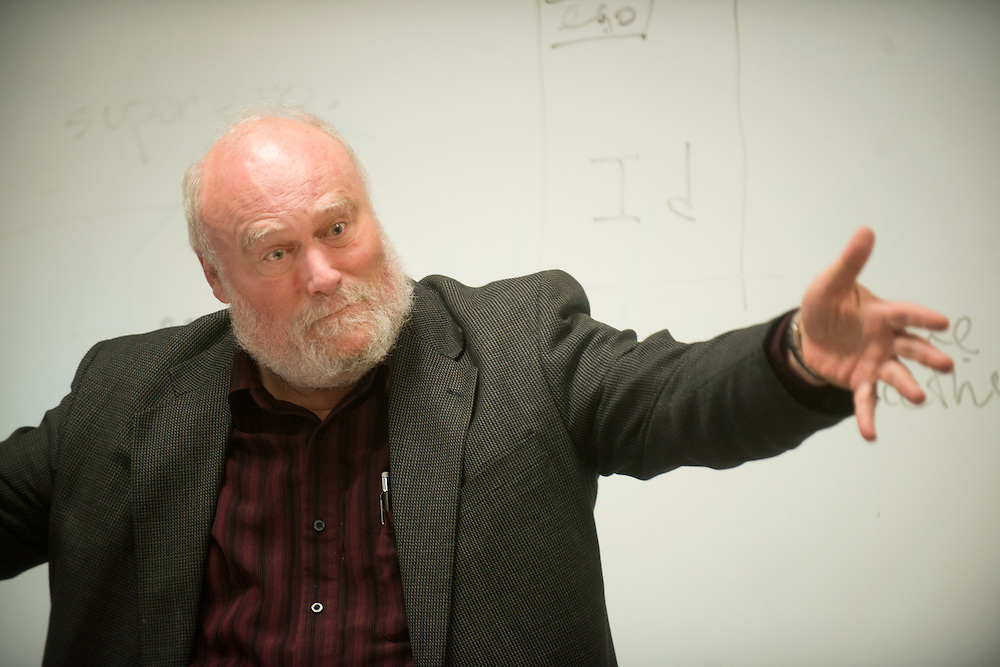 Father Clancy teaches class in College Hall. (Photo by Gonzaga University)