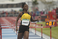 October 12, 2018 - Buenos Aires, Buenos Aires, Argentina - Winner ACKERA NUGENT of Jamaica at the end of the Women's 100m Hurdles (76.2cm) Stage 1 - Heat 2 on Day 5 of the Buenos Aires 2018 Youth Olympic Games at the Olympic Park. (Credit Image: © Patricio Murphy/ZUMA Wire)