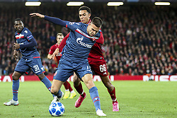 October 24, 2018 - Liverpool, United Kingdom - Crvena Zvezda defender Marko Gobeljic (77) fights for the ball against Liverpool defender Trent Alexander-Arnold (66) during the Uefa Champions League Group Stage football match n.3  Liverpool v FK Crvena Zvezda on October 24, 2018, at the Anfield Road in Liverpool, England. (Credit Image: © Matteo Bottanelli/NurPhoto via ZUMA Press)