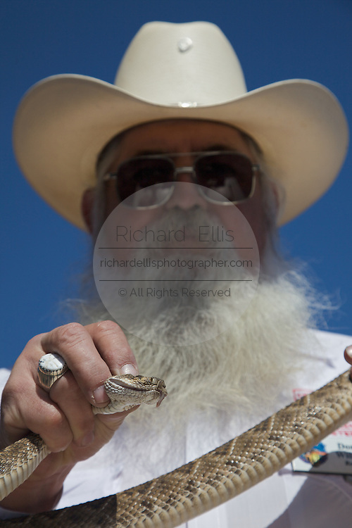 Sweetwater, TX - March 15:  Jaycee snake handler Donnie Willman, holds a live  western diamondback rattler during the 51st Annual Sweetwater Texas Rattlesnake Round-Up, March 15, 2009 in Sweetwater, TX. During the three-day event approximately 10,000 rattlesnakes will be collected, milked and served to support charity.   (Photo by Richard Ellis/Getty Images)