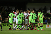 Scuffles after a hard tackle during the EFL Sky Bet League 2 match between Forest Green Rovers and Cheltenham Town at the New Lawn, Forest Green, United Kingdom on 25 November 2017. Photo by Antony Thompson.