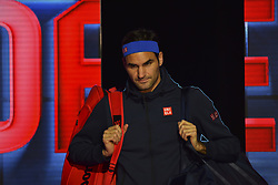 November 15, 2018 - London, England, United Kingdom - Roger Federer of Switzerland enters the court during his round robin match against Kevin Anderson of South Africa during Day Five of the Nitto ATP Finals at The O2 Arena on November 15, 2018 in London, England. (Credit Image: © Alberto Pezzali/NurPhoto via ZUMA Press)