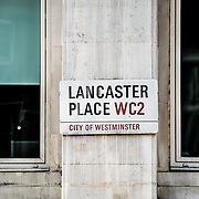 Street sign for Lancaster Place, City of Westminster, in central London.