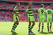 Forest Green Rovers Kaiyne Woolery(14) scores a goal 3-1 and celebrates with Forest Green Rovers Keanu Marsh-Brown(7) during the Vanarama National League Play Off Final match between Tranmere Rovers and Forest Green Rovers at Wembley Stadium, London, England on 14 May 2017. Photo by Shane Healey.