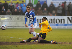 Bristol Rovers' Nathan Blissett  assists with a shot for Rovers goal from Bristol Rovers' Lee Mansell - Photo mandatory by-line: Neil Brookman/JMP - Mobile: 07966 386802 - 04/01/2015 - SPORT - football - Nuneaton - James Parnell Stadium - Nuneaton Town v Bristol Rovers - Vanarama Conference