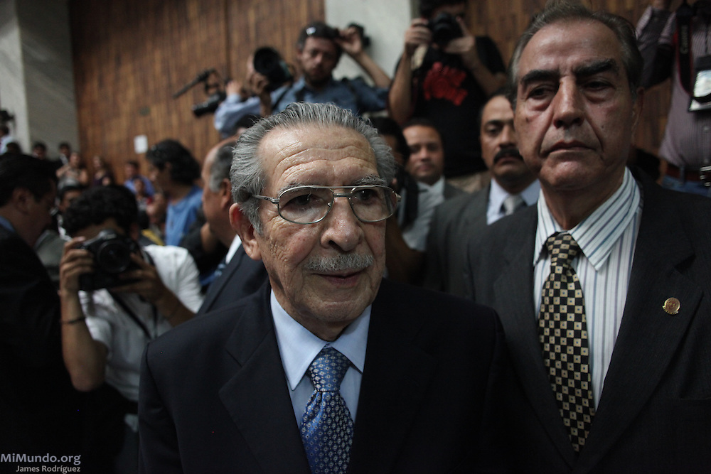 Efrain Rios Montt enters the courtroom before his sentencing. For the first time in world history, a former head of state was not only tried for genocide and crimes against humanity in a national court, but found guilty of these charges. Former Guatemalan de facto head of state Jose Efrain Rios Montt, who ruled Guatemala from March 1982 to August 1983, was sentenced to 80 years of jail. Guatemala City, Guatemala. May 10, 2013.
