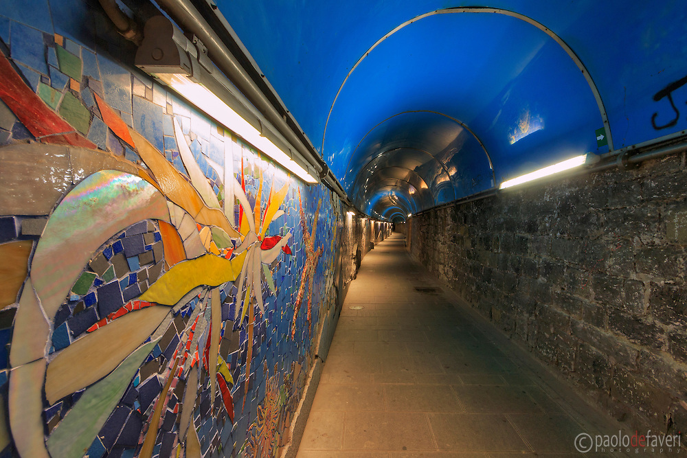 The pedestrians tunnel from the centre of Riomaggiore to the railways station