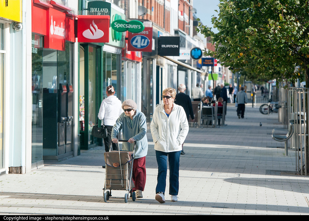 © Licensed to London News Pictures. 29/08/2014. Clacton-on-Sea, UK General view of Clacton Town Cente. Douglas Carswell and Nigel Farage, Leader of the UK Independence Party, UKIP, meet local people on a walk about in Clacton-on-Sea today 29th August 2014. Tory Douglas Carswell  defected to UKIP and quit as MP for Clacton, saying he will contest the subsequent by-election for Nigel Farage's party.. Photo credit : Stephen Simpson/LNP