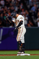 SAN FRANCISCO, CA - AUGUST 13: Kevin Pillar #1 of the San Francisco Giants celebrates after hitting an RBI double against the Oakland Athletics during the sixth inning at Oracle Park on August 13, 2019 in San Francisco, California. The San Francisco Giants defeated the Oakland Athletics 3-2. (Photo by Jason O. Watson/Getty Images) *** Local Caption *** Kevin Pillar