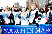 Cindy McCain, Trudie Styler, Ban Soon-taek, Kim Cattrall and Muna Rihani Al-Nasser attend the March To End Violence Against Women at the United Nations Headquarters in New York City, New York on March 07, 2014.