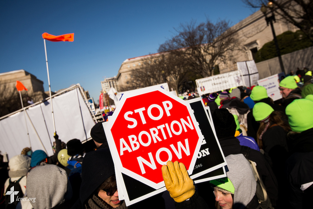 Lutherans carry anti-abortion signs Wednesday, Jan. 22, 2014, during the 41st March for Life in Washington, D.C. LCMS Communications/Erik M. Lunsford