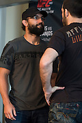 DALLAS, TX - MARCH 12:  Johny Hendricks faces off with Matt Brown during the UFC 185 Ultimate Media Day at the American Airlines Center on March 12, 2015 in Dallas, Texas. (Photo by Cooper Neill/Zuffa LLC/Zuffa LLC via Getty Images) *** Local Caption *** Johny Hendricks; Matt Brown