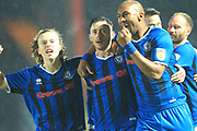 GOAL Ian Henderson celebrates scoring 3-3  during the EFL Sky Bet League 1 match between Rochdale and AFC Wimbledon at Spotland, Rochdale, England on 19 February 2019.