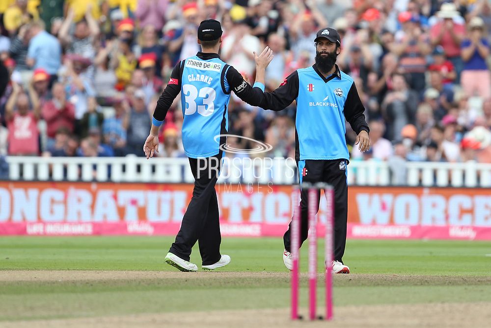Worcestershire Rapids Moeen Ali congratulated as Worcester go onto the finals during the Vitality T20 Finals Day semi final 2018 match between Worcestershire Rapids and Lancashire Lightning at Edgbaston, Birmingham, United Kingdom on 15 September 2018.