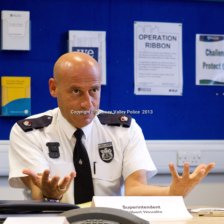 Superintendent Gilbert Houalla, Thames Valley Police's Area Commander for Wycombe, holds a reassurance briefing for community leaders in High Wycombe Police Station after the execution of OPERATION RIBBON II. The operation, which is a follow up to the first phase in November 2012, is part of an ongoing investigation into child sexual exploitation. <br /> Four warrants under the Sexual Offences Act were carried out at properties in the High Wycombe area and four men, aged 19, 20, 21 and 22 have been arrested and are currently in police custody.   Wycombe, UNITED KINGDOM. January 29 2013. <br /> Photo Credit: MDOC/Thames Valley Police<br /> &copy; Thames Valley Police 2013. All Rights Reserved. See instructions.