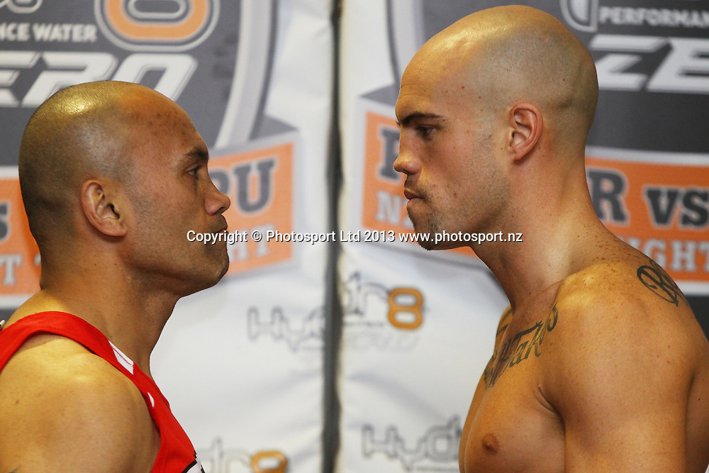 Atalili Fai (L) and Sam Rapira, Weigh In ahead of tomorrow nights Hydr8 Zero, Parker v Tatupu boxing match for the NZNBF title, Trusts Stadium, Auckland, 9 October 2013. Photo: William Booth/www.photosport.co.nz