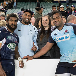 Taqele Naiyaravoro of the Waratahs and Marika Koroibete of the Melbourne Rebels during the super rugby match between Waratahs and the Rebels Allianz Stadium 21 May 2017(Photo by Mario Facchini -Steve Haag Sports)