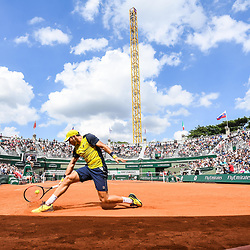 (General view of Court 1) Dusan Lajovic (Serbia) during Day 4 for the French Open 2018 on May 30, 2018 in Paris, France. (Photo by Anthony Dibon/Icon Sport)