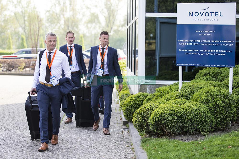 Bjorn Kuipers, Erwin Zeinstra, Pol van Boekel during the Dutch Toto KNVB Cup Final match between AZ Alkmaar and Feyenoord on April 22, 2018 at the Kuip stadium in Rotterdam, The Netherlands.