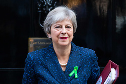 © Licensed to London News Pictures. 10/10/2018. London, UK. British Prime Minister Theresa May leaves No 10 Downing Street to attend Prime Ministers Questions. Photo credit : Tom Nicholson/LNP