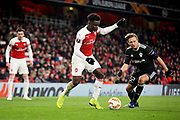 Arsenal's Bukayo Saka (87) charging forward during the Europa League group stage match between Arsenal and FK QARABAG at the Emirates Stadium, London, England on 13 December 2018.