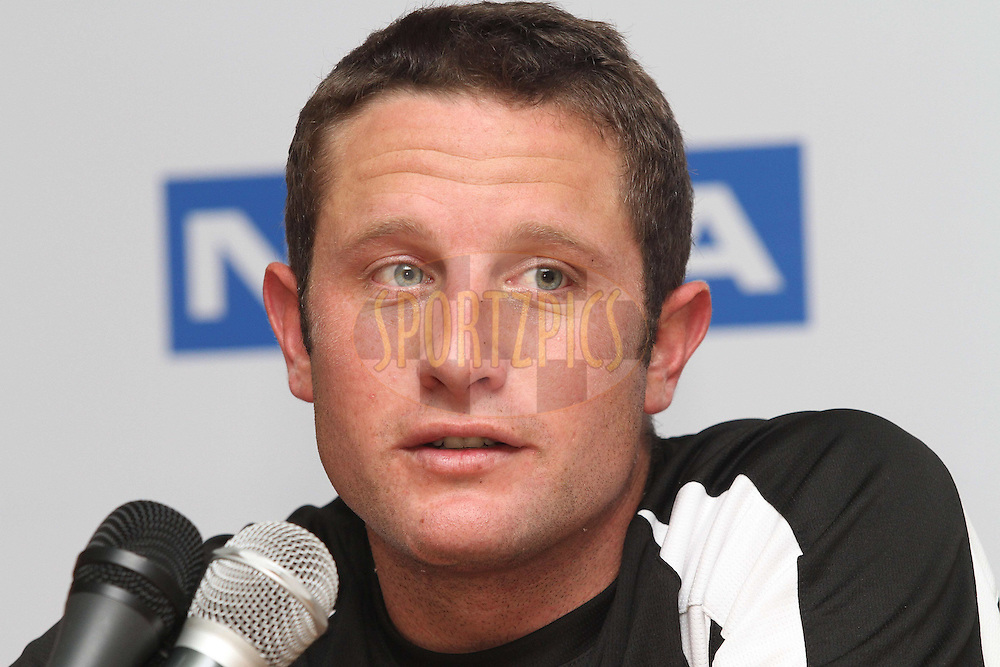 Man of the Match Roelof van der Merwe of Somerset during the post match press conference during Match 5 of the NOKIA CLT20 between The Kolkata Knight Riders and Somerset held at the Rajiv Gandhi International Stadium, Hyderabad on the 25th September 2011..Photo by Shaun Roy/BCCI/SPORTZPICS