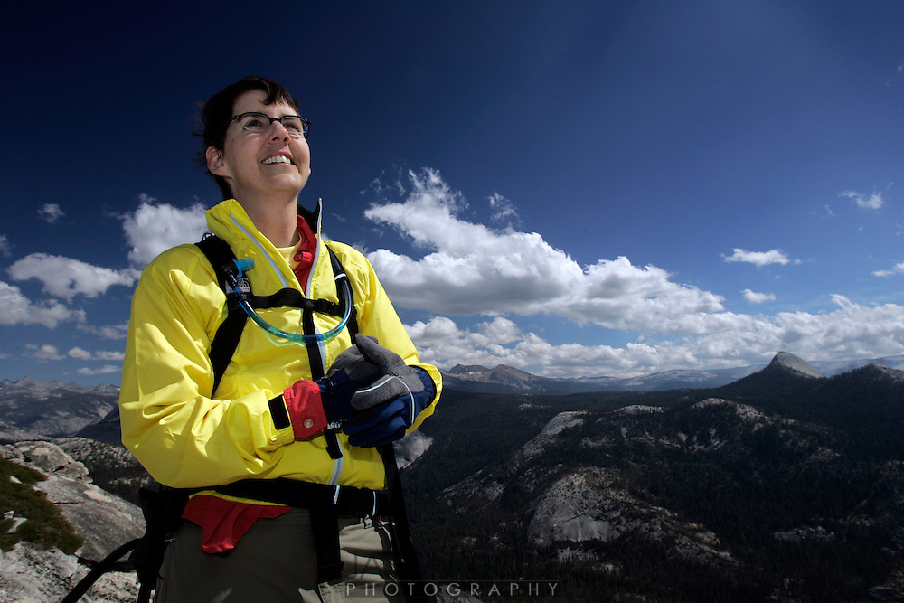 Deb Mosley undertook a 20 mile, 12 hour climb to the top of Half Dome on September 10. The climb raised money for five local breast cancer organizations...photo by Jason Doiy.9-15-05.037-2005