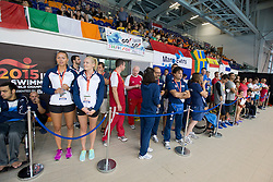 Coach's pen and spectators in tribunes  at 2015 IPC Swimming World Championships -