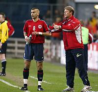 Fotball, 28. april 2004, Privatlandskamp, Norge-Russland 3-2, Åge Hareide og Magne Hoset, Norge