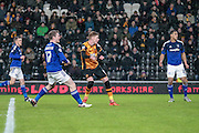Sam Clucas (Hull City) watches as his shot beats David Marshall (c) (Cardiff City) during the Sky Bet Championship match between Hull City and Cardiff City at the KC Stadium, Kingston upon Hull, England on 13 January 2016. Photo by Mark P Doherty.