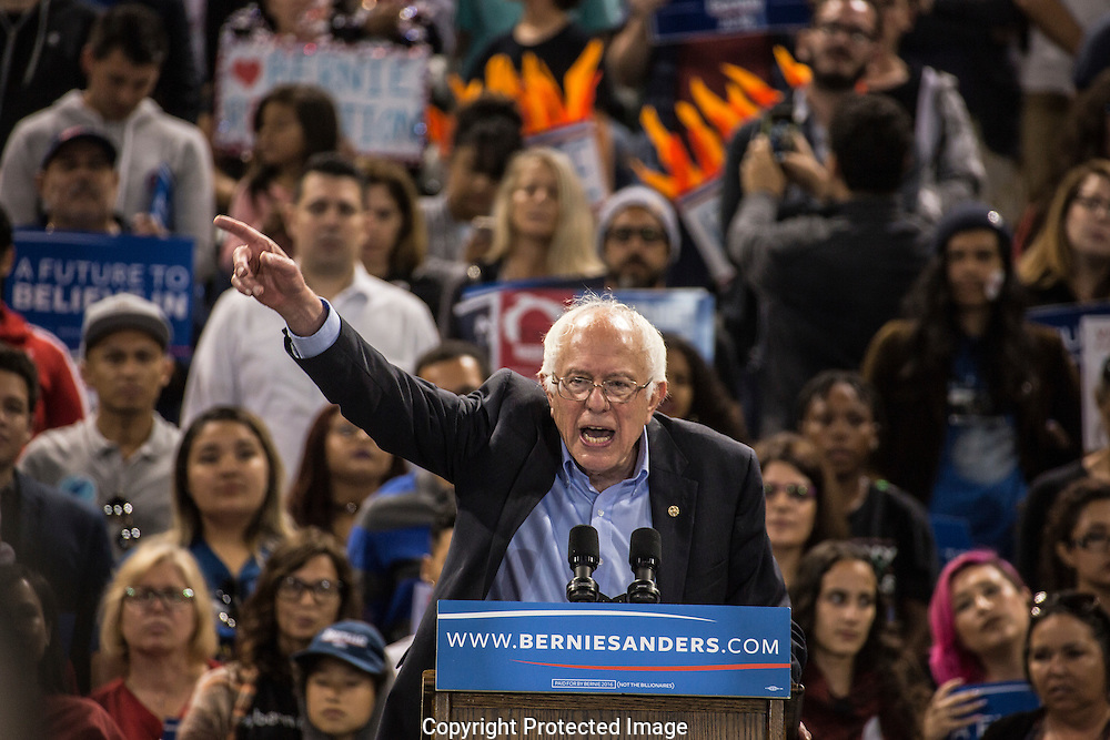 Presidential candidate Bernie Sanders speaking at the StubHub Center in Carson, CA.
