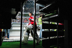 Bernhard Starkbaum of Austria going to the ice rink during ice-hockey match between Austria and Slovenia at IIHF World Championship DIV. I Group A Slovenia 2012, on April 21, 2012 at SRC Stozice, Ljubljana, Slovenia. (Photo By Matic Klansek Velej / Sportida.com)