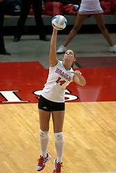 09 OCT 2005 Bradley Brave Amber DeBroux soups it up. The Illinois State University Redbirds hosted arch rival Bradley University Braves.  The Redbirds soared over the Braves, taking the match in 4 games, losing only game number 2.  Action included play by Braves Star Lindsey Stalzer who is ranked no. 7 in the nation in kills per game.  The first defeat of the conference season for the Braves took place at Redbird Arena on Illinois State's campus in Normal IL.