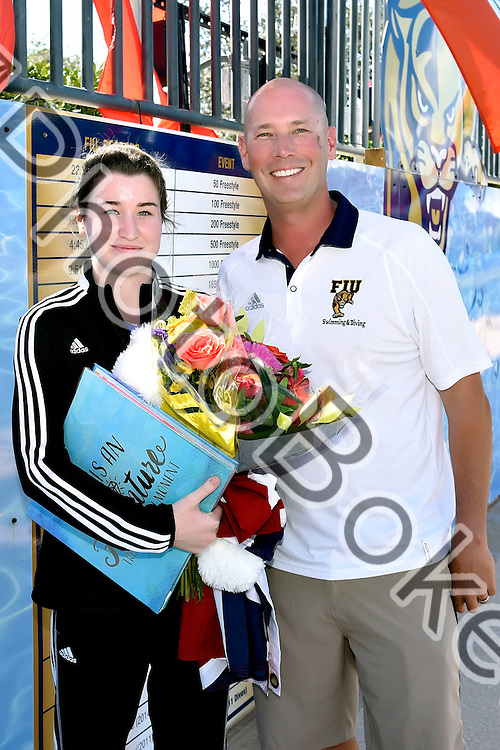 2017 February 04 - FIU honoring seniors before the meet. Florida International University defeated FAU at the Biscayne Bay Aquatic Center, Miami, Florida. (Photo by: Alex J. Hernandez / photobokeh.com) This image is copyright by PhotoBokeh.com and may not be reproduced or retransmitted without express written consent of PhotoBokeh.com. ©2017 PhotoBokeh.com - All Rights Reserved