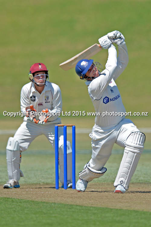 Auckland skipper Michael Bates in action. Plunket Shield. 4 Day match between Auckland and Northern Districts at Colin Maiden Park in Auckland. New Zealand. Saturday 07 February 2015. Copyright Photo: Raghavan Venugopal/www.photosport.co.nz