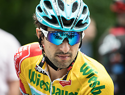 03.07.2017, Wien, AUT, Ö-Tour, Österreich Radrundfahrt 2017, 1. Etappe von Graz nach Wien (193,9 km), im Bild Oscar Gatto (ITA, Astana Pro Team) im gelben Trikot // Oscar Gatto (ITA Astana Pro Team) of Italy in the yellow jersey during the 1st stage from Graz to Vienna (193,9 km) of 2017 Tour of Austria. Wien, Austria on 2017/07/03. EXPA Pictures © 2017, PhotoCredit: EXPA/ Reinhard Eisenbauer