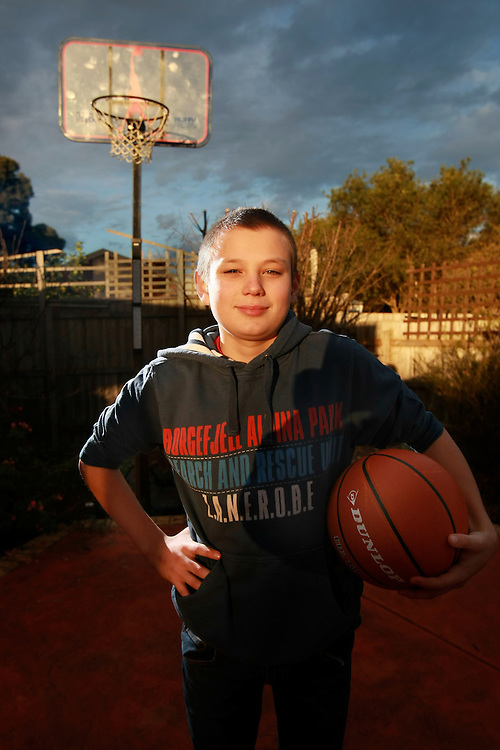 12 year old Milak Agonovic likes basketball. Pic By Craig Sillitoe CSZ / The Sunday Age.21/06/2012 melbourne photographers, commercial photographers, industrial photographers, corporate photographer, architectural photographers, This photograph can be used for non commercial uses with attribution. Credit: Craig Sillitoe Photography / http://www.csillitoe.com<br />