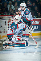 KELOWNA, CANADA - FEBRUARY 9: Jake Morrissey #31 of Kelowna Rockets defends the net against the Prince George Cougars on February 9, 2015 at Prospera Place in Kelowna, British Columbia, Canada.  (Photo by Marissa Baecker/Shoot the Breeze)  *** Local Caption *** Jake Morrissey;