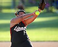 Linn-Mar pitcher Dionna Jensen, sophomore, delivers a pitch at the 4A Regional softball game between Cedar Rapids Washington and Linn-Mar at Jefferson High School at 1243 20th Street SW in Cedar Rapids on Saturday, July 10, 2010. Linn-Mar won 9-1. (Stephen Mally/Freelance)